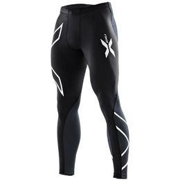 2XU Men's Elite Compression Tights (Black/Steel, Medium)